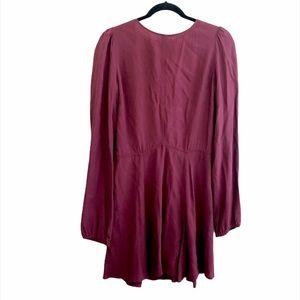 Reformation Burgundy Flirty Mini Dress M